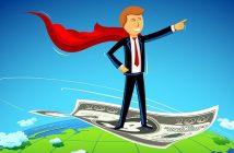Erfolgreicher Geschäftsmann fliegt auf einer Dollar-Note.