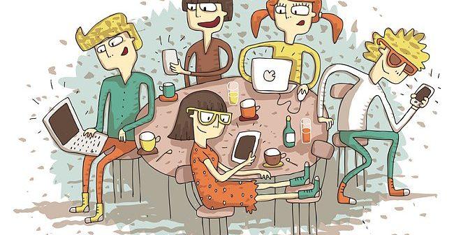 Süchtig nach sozialen Netzwerken.