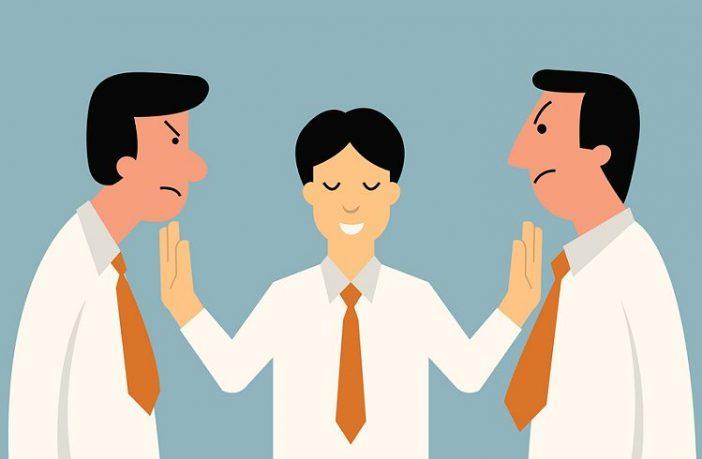 Mediatoren vermitteln in Konflikten