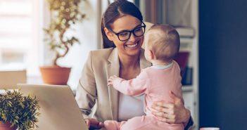Selbstständige Frau mit Kind