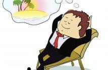 Arbeitnehmer träumt von seinen Erholungsurlaub