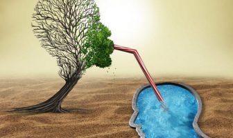 Ein Psychotherapeut saugt die Gedanken des Patienten auf und behandeln dessen seelische Krankheiten