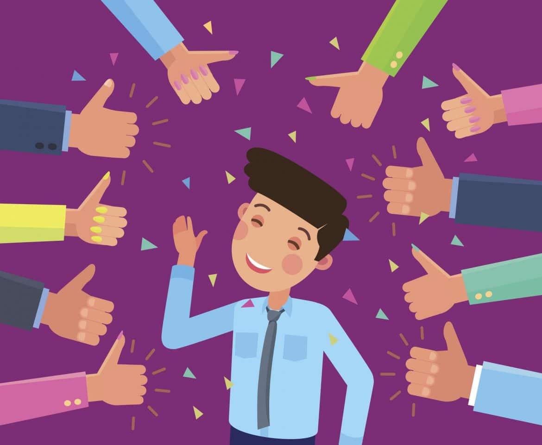 Mitarbeiter erhält Lob und Anerkennung von seinen Kollegen