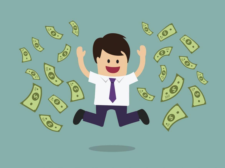 Geschäftsmann ist glücklich durch sein vieles Geld und springt vor Freude in die Luft